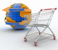 Shopping cart with a globe.  Direction concept Stock Image