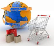 Shopping cart with a globe. Direction concept. Royalty Free Stock Photo