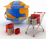 Shopping cart with a globe. Direction concept Royalty Free Stock Image