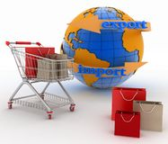 Shopping cart with a globe. Direction concept Royalty Free Stock Photography