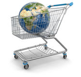 Shopping Cart with Globe Royalty Free Stock Image