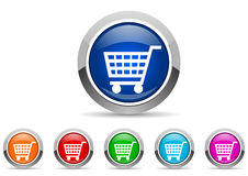 Shopping cart glossy icons Stock Photo