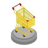 Shopping cart gold. Award for best buyer.  Stock Photo