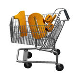 Shopping cart with Gold discount. Shopping cart with 10% discount in Gold vector illustration