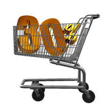 Shopping cart with Gold discount Royalty Free Stock Images