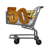 Shopping cart with Gold discount. Shopping cart with 50% discount in Gold royalty free illustration