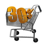 Shopping cart with Gold discount. Shopping cart with 30% discount in Gold stock illustration