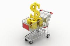 Shopping Cart With Golden Dollar Stock Photo