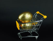 Shopping Cart with golden egg Stock Photos