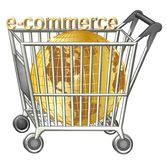 Shopping cart with golden globe Royalty Free Stock Photography