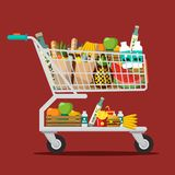 Shopping Cart with Goods. Trolley with Food. Vector Flat Design Illustration stock illustration