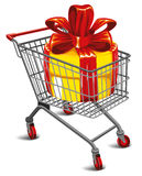 Shopping cart with a great gift Royalty Free Stock Image