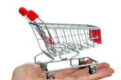 Shopping cart in hand Royalty Free Stock Image