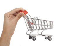 Shopping cart on hand Stock Images