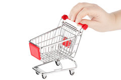 Shopping Cart with hand Stock Photography