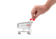 Shopping Cart with Hand Stock Image