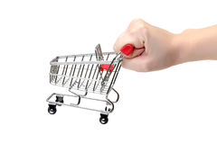 Shopping Cart with Hand Royalty Free Stock Photography