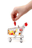 Shopping Cart with Hand Stock Photos