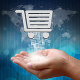 Shopping cart on hand Royalty Free Stock Images