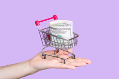 Shopping cart on hand with dollars Stock Image