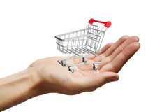 Shopping Cart on Hand Royalty Free Stock Image