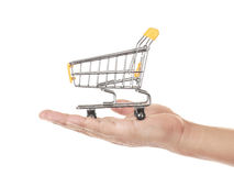 Shopping cart on hand Royalty Free Stock Photography