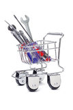 Shopping cart and hand tools Stock Photography
