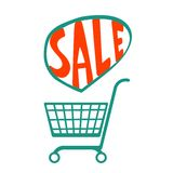 Shopping cart with  handdrawn sale Stock Image