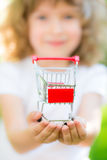 Shopping cart in hands Royalty Free Stock Photo