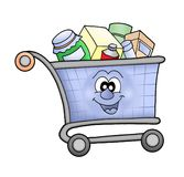 Shopping cart happy royalty free illustration