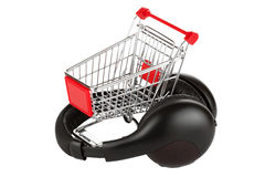 Shopping cart with headphones Stock Photos