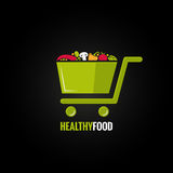Shopping cart with healthy food design background Royalty Free Stock Images