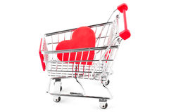 Shopping Cart with Heart Royalty Free Stock Photos