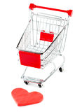 Shopping Cart with Heart Stock Photography