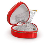 Shopping Cart in the heart box (clipping path included) Stock Photos