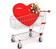 Shopping cart with heart inside Royalty Free Stock Photo