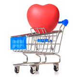 Shopping cart with heart Royalty Free Stock Image