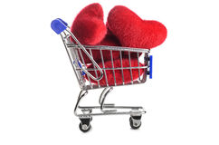 Shopping cart with hearts Stock Photography