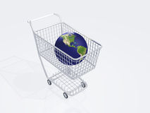 Shopping cart holds earth Royalty Free Stock Photos