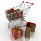 Shopping cart and holidays purchases Royalty Free Stock Photos