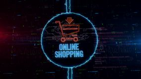 Shopping cart hologram in electric circle royalty free illustration