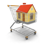 Shopping Cart and House (clipping path included) Stock Image
