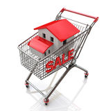 Shopping cart and house stock image