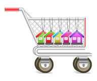 Shopping cart with house tag Stock Image