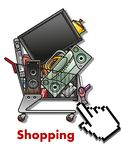 Shopping cart with household appliances Stock Photo
