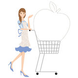 Shopping cart and housewife Royalty Free Stock Image