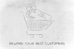 Shopping cart with huge free coupon. Shopping cart with huge rebate coupon for a free purchase Royalty Free Stock Photos