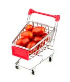 Shopping cart with huge juicy grape tomatoes Royalty Free Stock Photo