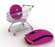 Shopping cart and hybrid of computer mouse and purse Royalty Free Stock Image