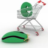 Shopping cart and hybrid of computer mouse and purse Stock Photo